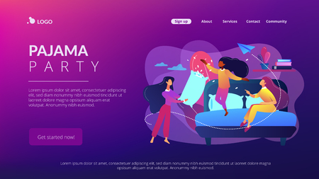 Happy tiny people female teens pillow fight in bedroom at slumber party. Pajama party, friends sleepover, slumber night party concept. Website vibrant violet landing web page template. Ilustração