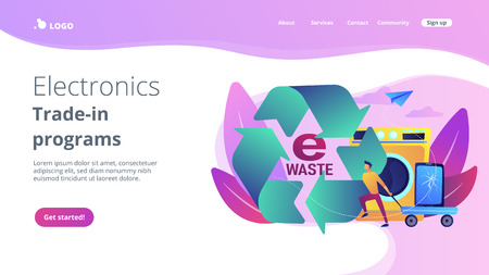 Businessman taking old smartphone in cart to electronic waste recycling. E-waste reduction, electronics trade-in programs, gadgets recycling concept.Website vibrant violet landing web page template.