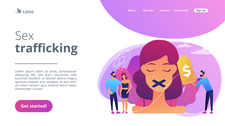 Sex trafficking concept landing page.