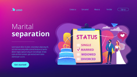 Married couple and marital status on clipboard, tiny people. Relationship status, marital status and separation, marriage and divorce concept. Website vibrant violet landing web page template.