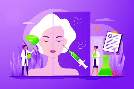 Old woman getting facial plastic correction. Skin anti aging, beauty treatment. Face lifting, rhytidectomy procedure, facelift surgery concept. Vector isolated concept creative illustration Illustration