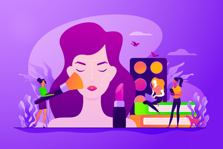 Woman in beautician parlor. Female character testing skin care product in beauty salon. Makeup courses, make up school, cosmetics masterclass concept. Vector isolated concept creative illustration 向量圖像