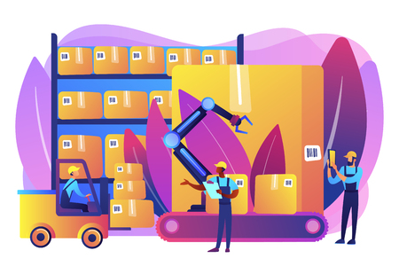 Storehouse employees working, transporting goods boxes. Warehouse logistics, RFID technology use, automation storage service concept. Bright vibrant violet vector isolated illustration  イラスト・ベクター素材