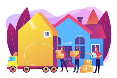 Home relocation, client boxes and cardboard containers in truck. Moving house services, door-to-door removals, best movers service concept. Bright vibrant violet vector isolated illustration Stock Illustratie