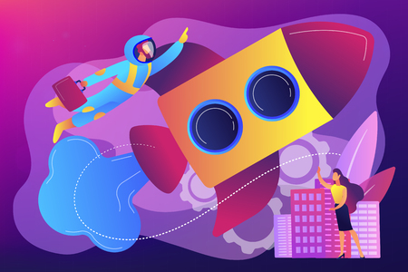 Businessman in astronaut costume flying up with rocket into space and tiny people. Space travel, space tourism, commercial spacecraft concept. Bright vibrant violet vector isolated illustration
