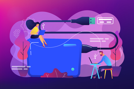 Tiny business people at laptops using portable external hard drive. External hard drive, data storage device, external storage hdd concept. Bright vibrant violet vector isolated illustration Illusztráció