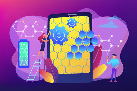 Tiny people scientists with graphene atomic structure for smartphone. Graphene technologies, artificial graphene, modern science revolution concept. Bright vibrant violet vector isolated illustration Ilustração