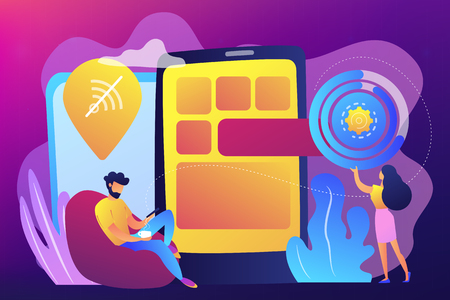 Developer working on web app on smartphone, user offline, tiny people. Progressive web app, working offline web, PWA application development concept. Bright vibrant violet vector isolated illustration
