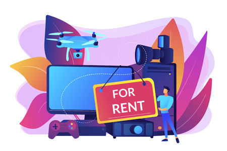 Man selling computer, lending portable gadgets. Renting electronic device, terms of using rental electronics, test equipment lease concept. Bright vibrant violet vector isolated illustration