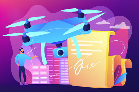 Businessman with drone reading document with regulations. Drone flying regulations, drone use limitations, unmanned aircraft rules concept. Bright vibrant violet vector isolated illustration