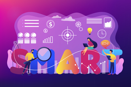 Tiny business people working on goals and sitting on smart word. SMART Objectives, objective establishment, measurable goals development concept. Bright vibrant violet vector isolated illustration Illustration