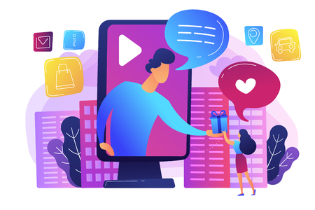 Targeted social media ads. Giveaway promo campaign, SMM. Interactive advertising, clients engagement analytics, effective marketing services concept. Bright vibrant violet vector isolated illustration