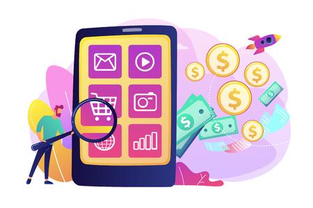 Digital marketing, e-commerce. Buyer flat character shopping online. App monetization, mobile app advertisement, app download promotion concept. Bright vibrant violet vector isolated illustration