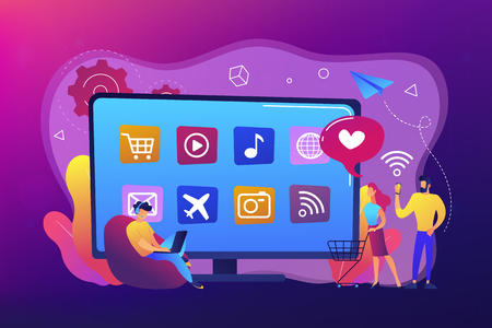 Tiny people with laptop, shopping cart using smart TV with apps. Smart TV applications, smart TV marketplace, television app development concept. Bright vibrant violet vector isolated illustration 일러스트