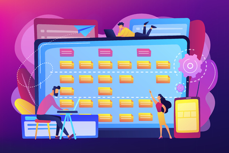 Tiny people developers at laptop and customer requirements. Software requirement description, user case agile tool, business analysis concept. Bright vibrant violet vector isolated illustration