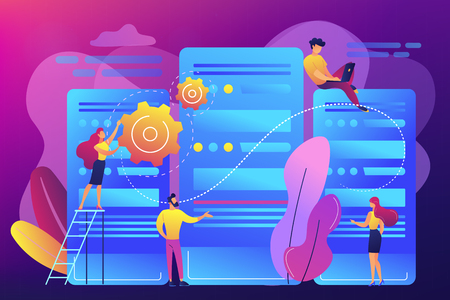Tiny people data center engineers and administrator working with servers. Data center, centralized computer system, remote data storage concept. Bright vibrant violet vector isolated illustration Illustration