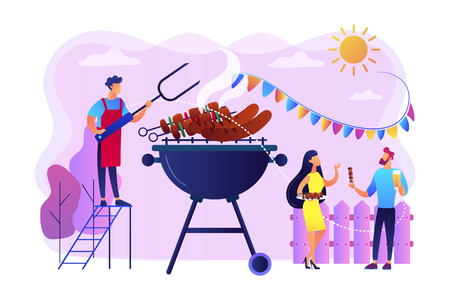 Neighbours flat characters grilling sausages. People eating, having picnic on nature. Backyard party, backyard BBQ, friends party ideas concept. Bright vibrant violet vector isolated illustration Illustration
