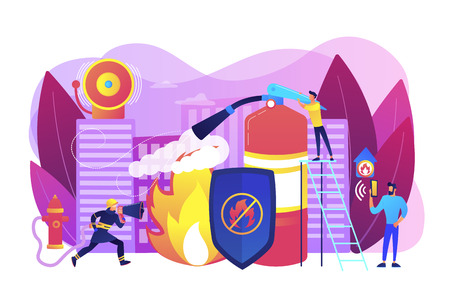 Firefighter extinguishing flame character. Rescuer dangerous job. Fire protection, fire prevention technologies, fire protection services concept. Bright vibrant violet vector isolated illustration Illustration