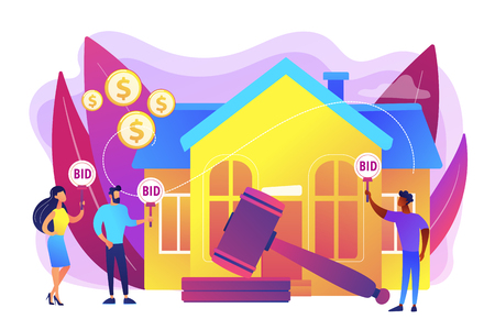 Property buying and selling. Auction house, exclusive bids here, consecutive biddings processing, business that runs auctions concept. Bright vibrant violet vector isolated illustration