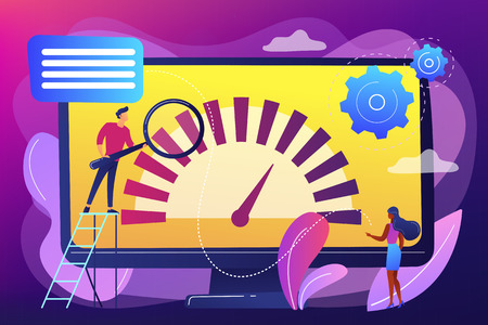 Tiny business people look at product performance indicator. Benchmark testing, benchmarking software, product performance indicator concept. Bright vibrant violet vector isolated illustration Illustration