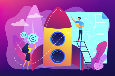 Space technology specialist and engineer constructing rocket, tiny people. Space technology, aerospace industry, space exploration process concept. Bright vibrant violet vector isolated illustration
