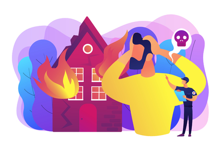 Demolished house in flame, natural disaster. Uninsured burnt property damages. Fire consequences, fire hazards losses, fire victims found concept. Bright vibrant violet vector isolated illustration Illusztráció