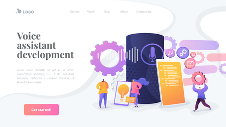 Smart speaker apps development landing page template.