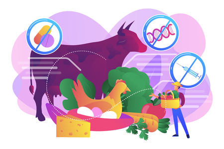 Natural farmers market goods, eco vegetables. Free from antibiotics hormones GMO foods, organic nutrition products, choose healthy foods concept. Bright vibrant violet vector isolated illustration Vektorové ilustrace