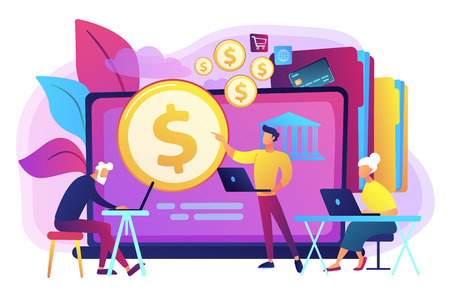 Financial consultant calculating pensioners fund. Financial literacy of retirees, retirement planning courses, retirement income control concept. Bright vibrant violet vector isolated illustration