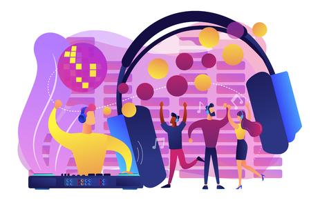 Młodzi ludzie tańczą w klubie nocnym, słuchają muzyki, koncert DJ. Silent disco, impreza ze słuchawkami, cicha impreza rave, koncepcja sprzętu silent disco. Jasna, wibrująca fioletowa ilustracja wektorowa na białym tle