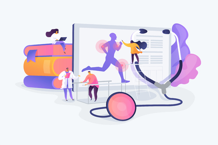 Training injuries treatment, physiotherapists helping patients. Sports medicine, sports medical services, sports physician specialist concept. Vector isolated concept creative illustration