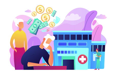 Healthcare expenses of retirees concept vector illustration.