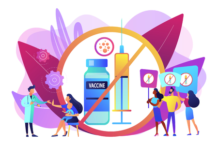 Anti-vaccination protest, people rejecting preventive medicine. Vaccine refusal, mandatory immunization, vaccination hesitancy concept. Bright vibrant violet vector isolated illustration