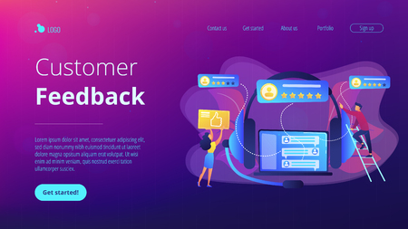 Customers at laptop and headset giving thumb up, rating stars. Customer feedback, customer rating feedback, customer relationship management concept. Website vibrant violet landing web page template.
