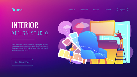 Designers with color palette designing interior decorations. Interior design, house decoration service, interior design studio concept. Website vibrant violet landing web page template.