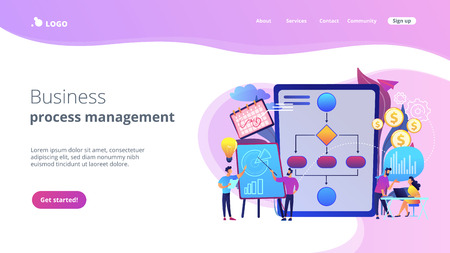 Businessmen work with improvement diagrams and charts. Business process management, business process visualization, IT business analysis concept. Website vibrant violet landing web page template.