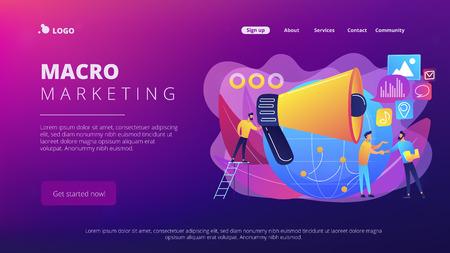 Marketing specialist with loudspeaker influence businessmen and globe. Macromarketing, social influence, global marketing strategy concept. Website vibrant violet landing web page template. Ilustração