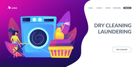 Laundry service worker ironing, washing machine. Dry cleaning and laundering, laundry facilities industry, cleaning and restoration services concept. Website vibrant violet landing web page template.