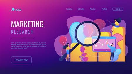 Marketers with magnifier research marketing opportunities chart. Marketing research, marketing analysis, market opportunities and problems concept. Website vibrant violet landing web page template.