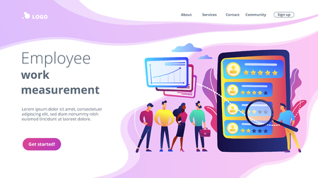 Tiny people analyst observing the workers performance on tablet. Performance rating, employee work measurement, work efficiency feedback concept. Website vibrant violet landing web page template. Illustration