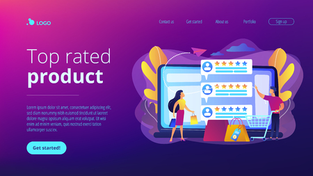 Tiny people customers rating online with reputation system program. Seller reputation system, top rated product, customer feedback rate concept. Website vibrant violet landing web page template. Illustration