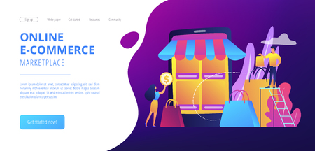 Tiny people customers rating online with reputation system program. Seller reputation system, top rated product, customer feedback rate concept. Website vibrant violet landing web page template.