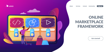 Digital service marketplace concept landing page.
