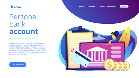 Bank account concept landing page.