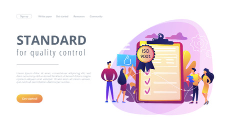 Tiny business people like standard for quality control. Standard for quality control, ISO 9001 standard, international certification concept. Website vibrant violet landing web page template.