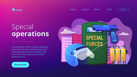 Tiny people special military unit with equipment conducts operation. Special military forces, special operations, modern military equipment concept. Website vibrant violet landing web page template.