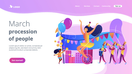 Parade of tiny people, clown, marching music band at national holiday or carnival. Parade, massive celebration, march procession of people concept. Website vibrant violet landing web page template. Ilustrace