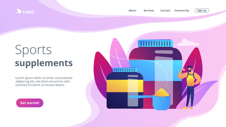 Sports nutrition concept landing page.