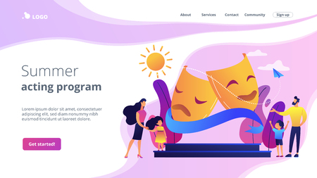 Theater camp concept landing page. Illustration