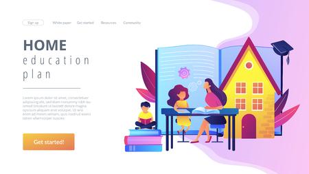 Home schooling concept landing page. Illustration